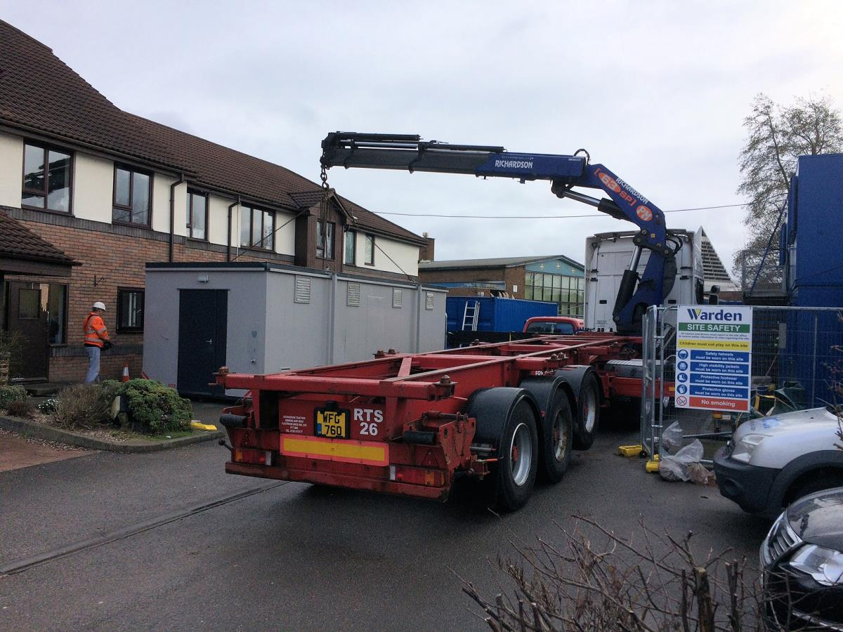 Multi temporary kitchen being delivered to a rest home during planned refurbishment of their existing kitchens.